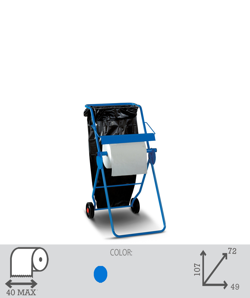 Supporto carta industriale con ruote e porta sacco. Art. 34 - 1